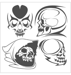 Skulls with tribal elements set vector image vector image
