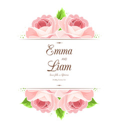 wedding invitation card pink red rose flowers vector image vector image