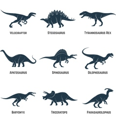 Et of dinosaurs icons silhouettes signs emblems vector
