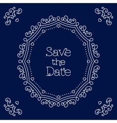Save the Date card line art Wedding design vector image
