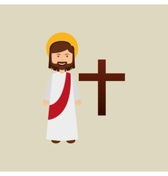 Jesus christ happy with bible design vector
