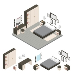 Isometric create a bedroom icon set vector