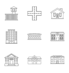 Building icons set outline style vector