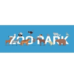 Zoo park with animals banner isolated vector