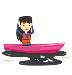 Woman floating in a boat in polluted water vector