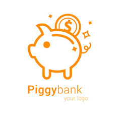 piggy bank logo vector image