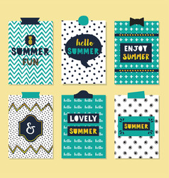 Cute assorted summer quotes journal cards set vector