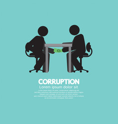 Black symbol of two men in corruption concept vector