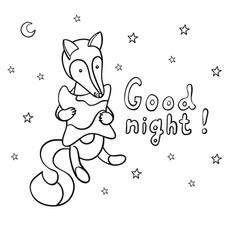 Cute cartoon fox with pillow vector