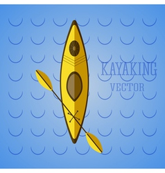 Canoe icon kayak on blue waves summer icon and vector