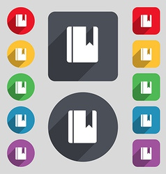 Book bookmark icon sign a set of 12 colored vector