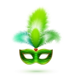 Green venetian carnival mask with feathers vector
