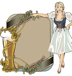 Beer label festival girl blond vector