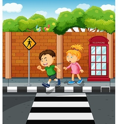Boy and girl on the pavement vector