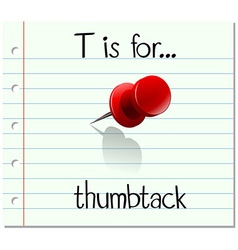 Flashcard letter t is for thumbtack vector