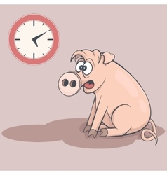 Sleepy cartoon pig in early morning tired swine vector