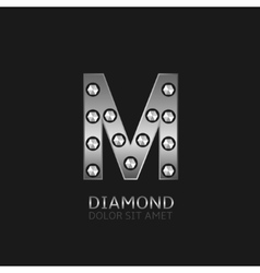Silver m letter vector