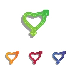 Gender signs in heart shape colorfull applique vector