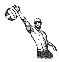 beach volley plaer vector image vector image