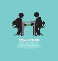 black symbol of two men in corruption concept vector image vector image