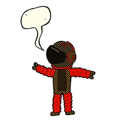 Cartoon astronaut reaching with speech bubble vector