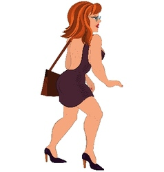 Cartoon girl in open back dress and glasses vector image vector image
