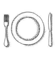 Cartoon image of dish fork knife icon vector