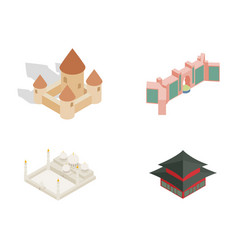 Castle icon set isometric style vector
