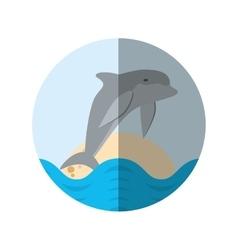 dolphin ocean fish friendly badge shadow vector image