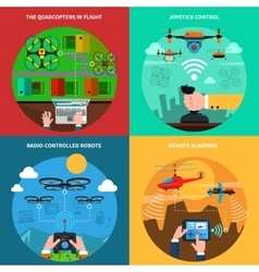 Drones concept 4 flat icons square vector