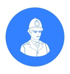 English policeman icon in black style isolated on vector