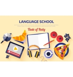 Flat design web banner for italian language school vector image vector image
