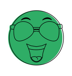 happy emoji with sunglasses instant messaging ic vector image
