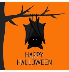 Happy halloween card cute sleeping bat hanging on vector