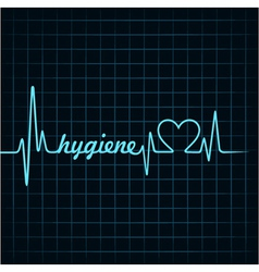 Heartbeat make hygiene word and heart symbol vector