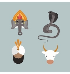 India animals and budda icons vector