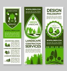 Landscape design service banners set vector