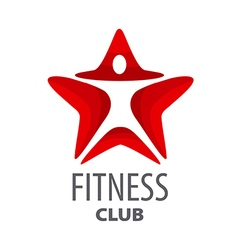 logo red star for fitness club vector image vector image