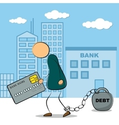Man going with credit card and debt vector