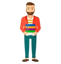 Man holding pile of folders vector image vector image