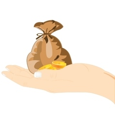 Money on palm of the person vector image