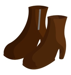 Pair of brown female boots icon cartoon style vector image vector image