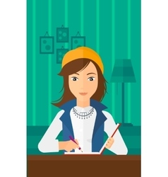 Reporter with writing-pad vector image