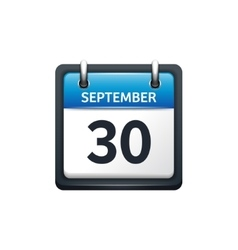 September 30 calendar icon vector