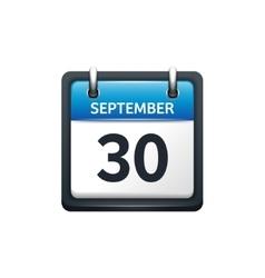 September 30 calendar icon vector