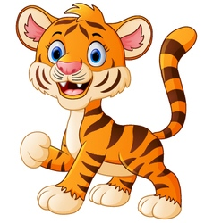 Smiling tiger cartoon vector