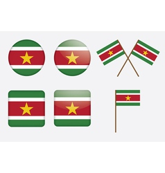 Suriname Flag Badges vector image vector image