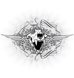 vintage emblem with animal skull vector image