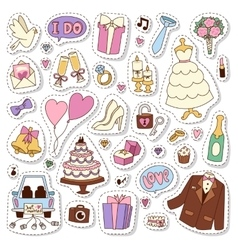 Wedding stickers icons vector