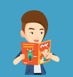 Woman reading magazine vector